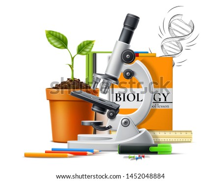 Realistic biology concept with microscope, green plant seedling in ceremic pot on background of books and stationery. Vector Molecular bio technologies in laboratory, back to school design.