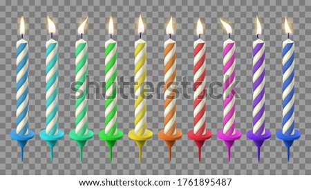 Realistic birthday candles. Birthday cake candlelight, holidays flaming wax candle. Party celebration colorful candles vector illustration set. Candle birthday with candlelight, holiday fire