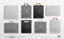 Realistic Black and Grey Shopping Bag Mockup set for branding and corporate identity design. Square and horisontal Shopping bag blank Mockup. Paper package settemplate  isolated on grey