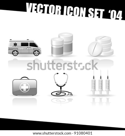 Realistic black and white  medical icon set