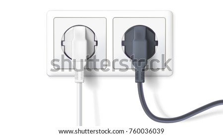 Realistic black and white plugs inserted in electrical outlet, isolated on white background. Icon of device for connecting electrical appliances, equipment. Electric plugs and socket. 3D illustration.