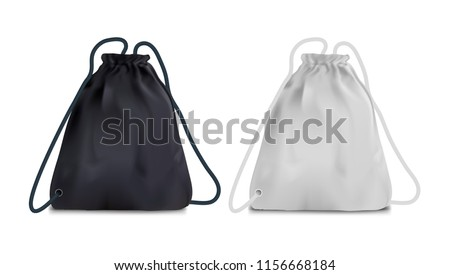 Realistic Black And White Sport Backpack Bag. EPS10 Vector