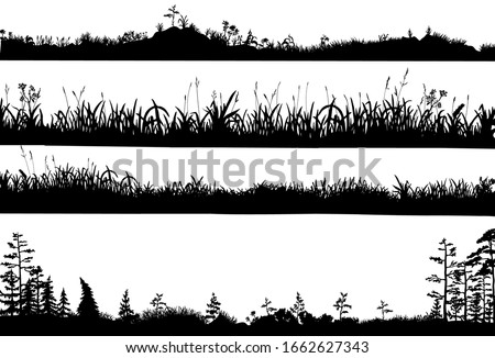 Realistic black and white vector set of silhouettes of the ground with grass, flowers, spikelets, trees on it. Hand drawn isolated illustrations for work, design, banners, landscapes.   Stock foto ©