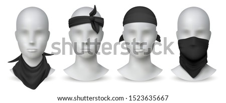 Realistic black bandana. Handkerchief or buff on white mannequin, biker blank head scarf or bandage template. Vector illustration isolated fashion mockup set for tourists gangsters on white background
