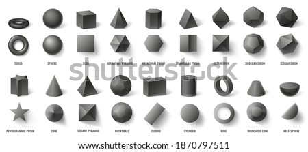 Realistic black basic geometric 3d shapes in top and front view isolated on white. Three dimensional objects as torus, sphere, cube, hexagonal pyramid and prism vector illustration Сток-фото ©