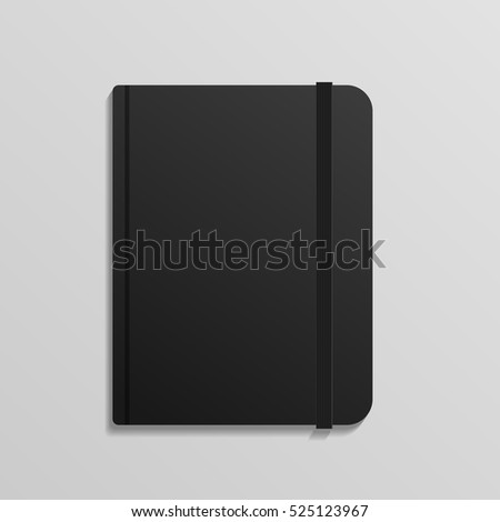 realistic black diary notebook
