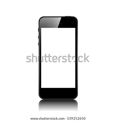 realistic black iphone isolated