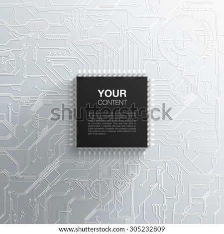 Realistic black microchip on detailed printed circuit board design abstract background with your text infographics vector stock eps 10 illustration