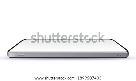 Realistic Black Mobile Phone Vector Mockup With Horizontal Perspective View. Widescreen frameless smartphone isolated on white background.