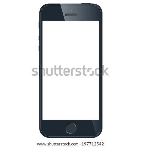 Realistic black mobile phone with blank screen in similar to iphone style isolated on white background. Vector EPS10