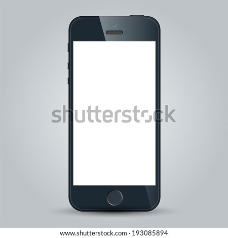 Realistic black mobile phone with blank screen in similar to iphone style isolated on white. Vector EPS10