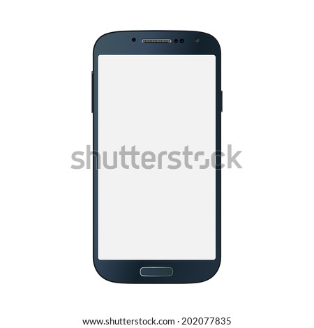 Realistic black mobile phone with blank screen isolated on white. Vector EPS10