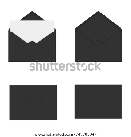 Realistic black mockup envelope for letter or invitation card. Vector.