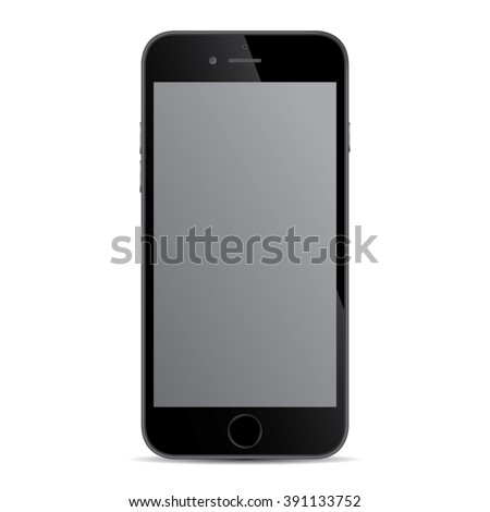 Realistic black modern smart iphon isolated.