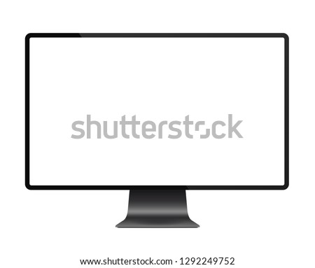 Realistic black modern thin frame display computer monitor vector illustration.