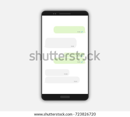 Realistic black smartphone mockup isolated on white, vector illustration. Message screen, open chat, empty bubbles. Social network communication template design.