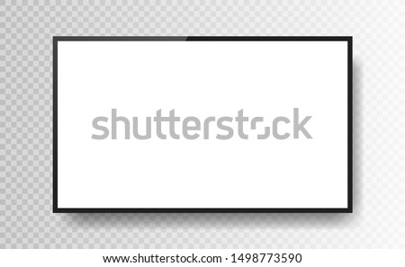 Realistic black television screen isolated on transparent background. 3d blank TV led monitor. Vector illustration.