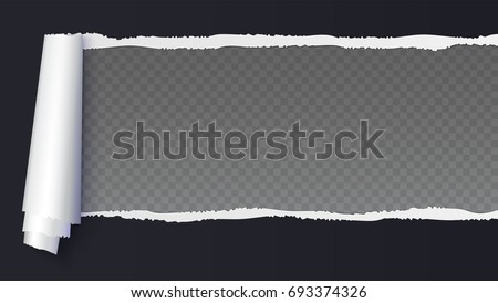 Realistic black torn open paper with space for text on transparent, horizontal background, holes in paper. Torn strip of paper with uneven, torn edges. Coiling torn strip of paper.