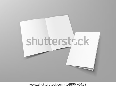 Realistic Blank A4 Half-fold Brochure Mock Up Template. EPS10 Vector