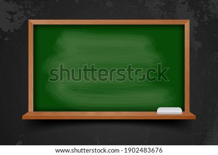Realistic blank black chalkboard in wooden frame Foto d'archivio ©