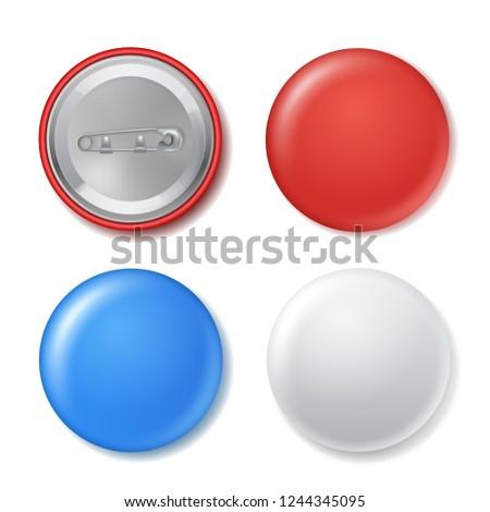 Realistic blank circle badges set with mockup. Round piece of metal, plastic label for organization. Vector illustration on white background