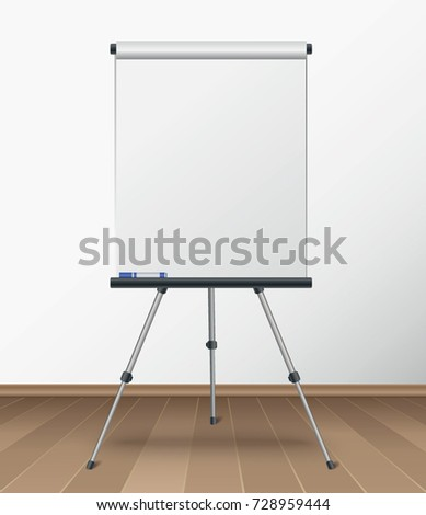 Realistic blank flipchart standing in the room with wooden floor vector illustration