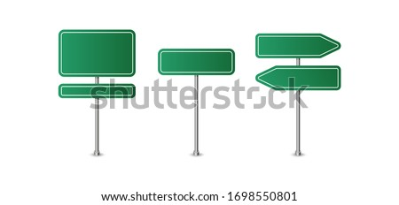 Realistic blank green street and road signs isolated vector. Set of street traffic sign, road signpost direction illustration