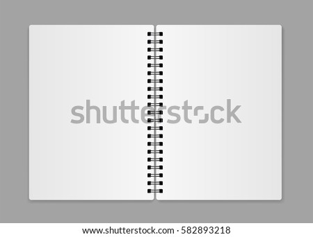 Realistic blank open notebook - stock vector.