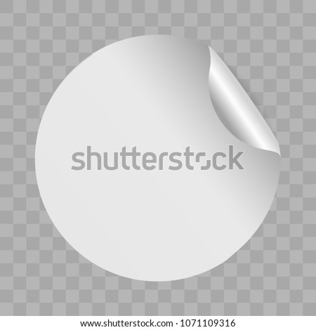 Realistic blank round paper sticker template with bent edge on transparent background. Sale design. Vector illustration, eps 10. #1071109316