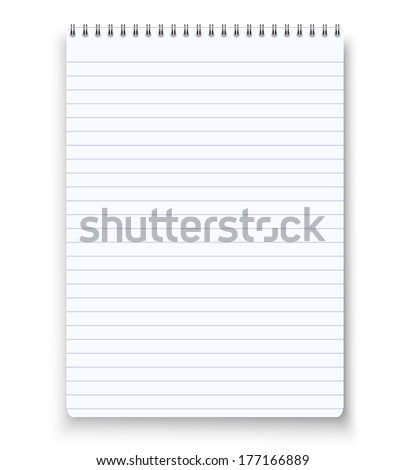 Realistic blank spiral notebook notepad isolated white vector