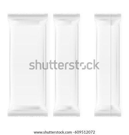 Realistic Blank Template Packages For Snack, Chocolate Or Candy. Plastic Pack Set. EPS10 Vector