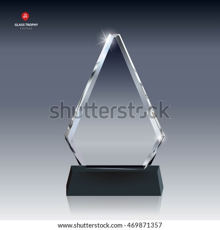Realistic Blank Vector Glass Trophy Award