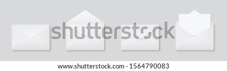 Realistic blank white letter paper C5 or C6 envelope front view. A6 C6, A5 C5, template open and closed on gray background - stock vector.