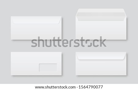 Realistic blank white letter paper DL envelope front view. Vector blank open and closed on gray background - stock vector. Foto stock ©