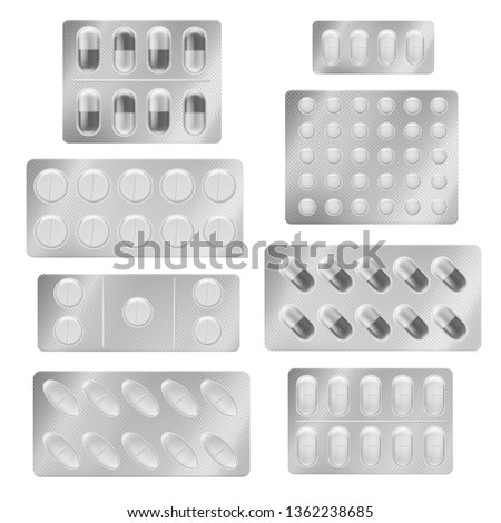 Realistic blister packs pills. Medical tablet capsules painkiller drugs vitamin antibiotic aspirin. Medicine packing mockup vector set