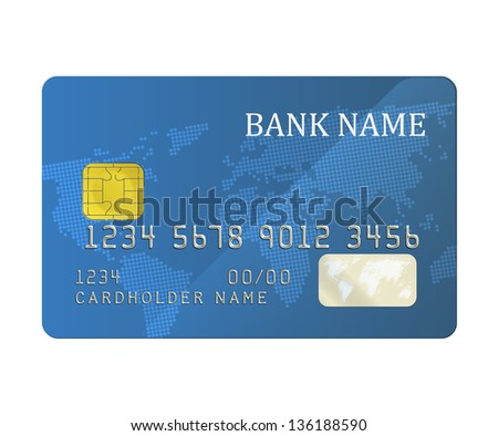 Realistic blue bank card with a chip. EPS10 vector.