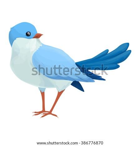 realistic blue bird looks away