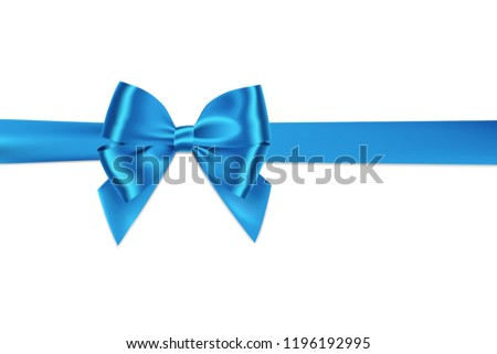 Realistic blue bow and ribbon shiny satin with shadow horizontal for decorate your greeting card,gift,vector isolated on white background.