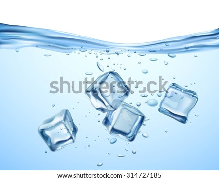 realistic blue ice cubes