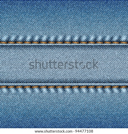 Realistic blue jeans texture background. Vector illustration.