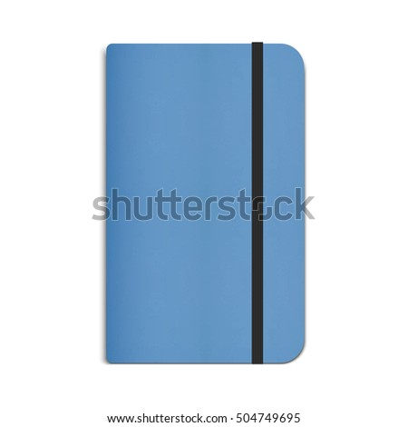 Realistic Blue Moleskin Notebook, Diary with Black Elastic Band. Vector