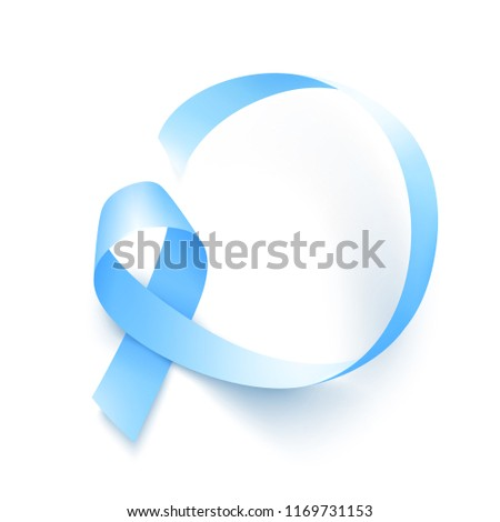 Realistic blue ribbon, world prostate cancer day symbol in november, vector illustration. Poster for prostate cancer awareness month.