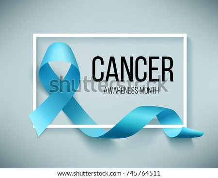 Realistic blue ribbon, world prostate cancer day symbol in november, vector illustration. Poster for cancer awareness month.