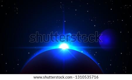 realistic blue solar eclipse on