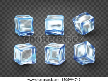 Realistic blue solid ice cubes on transparent background.3d,crystal ice,frozen water. vector illustration