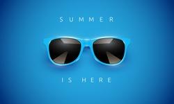 Realistic blue sunglasses on blue background, vector illustration