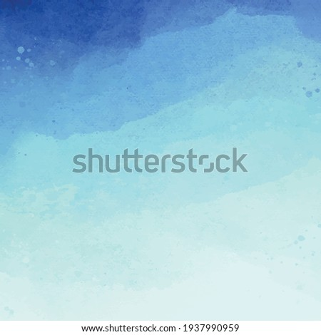 Realistic blue watercolor panoramic texture on white background - Vector illustration