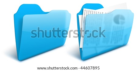 Realistic blurry transparent blue folder vector icon - EPS 10. See other colors in my portfolio