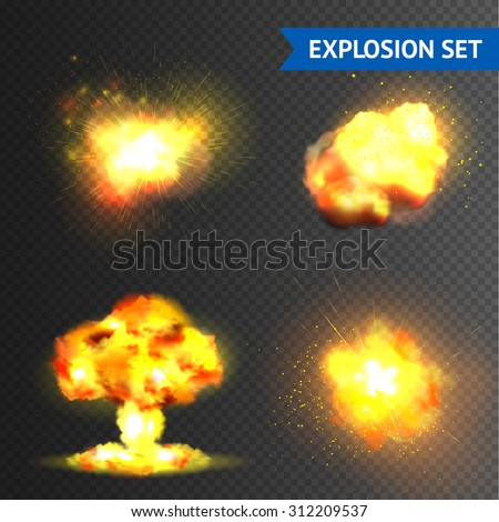 Realistic bomb or fireworks explosions set isolated on transparent background vector illustration