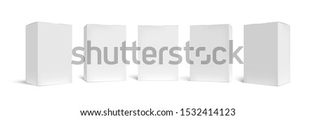 Realistic box mock up. Rectangular packaging boxes, white cardboard and blank vertical pack 3D vector template set. Closed square packing, paper containers, shipping cases cliparts collection